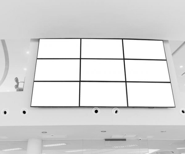 Video wall LED screen array billboard setup installation indoor office hall